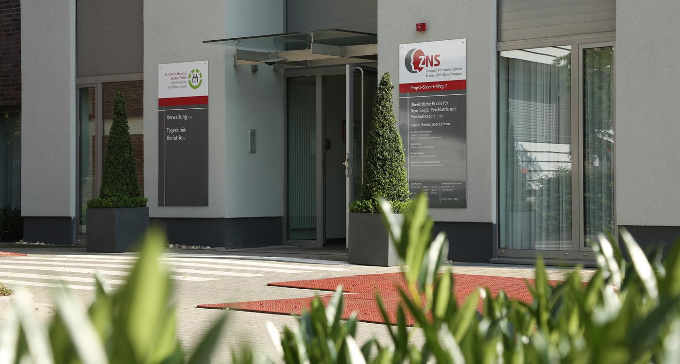 ZNS Borken, Eingang, Krankenhaus Borken, Zentrum für neurologische & seelische Erkrankungen